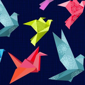Origami Birds on Textured background