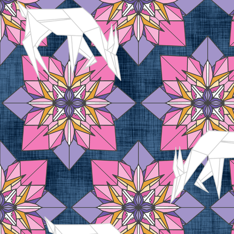 Origami Deer Floral fabric by pond_ripple on Spoonflower - custom fabric