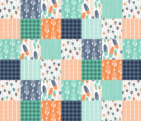 Tribal Boho Green Orange Blue Patchwork Quilt fabric by jannasalak on Spoonflower - custom fabric
