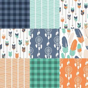 Tribal Boho Green Orange Blue Patchwork Quilt