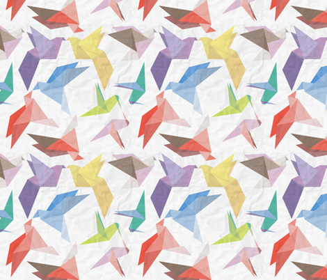Lovebirds of origami paper fabric by veerapfaffli on Spoonflower - custom fabric