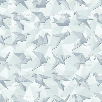 Twelve Origami birds.