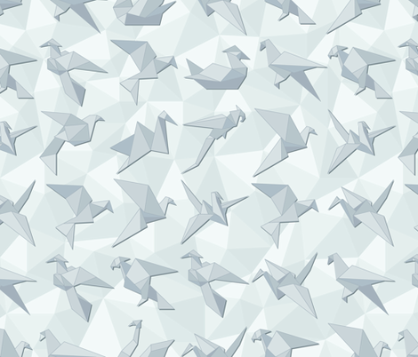 Twelve Origami birds. fabric by fantuzura on Spoonflower - custom fabric