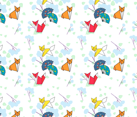 Origami Foxes fabric by lemon_chiffon on Spoonflower - custom fabric