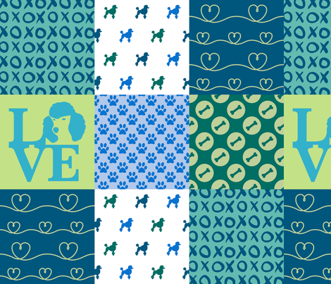 Cheater Quilt Poodle Blue  fabric by mariafaithgarcia on Spoonflower - custom fabric