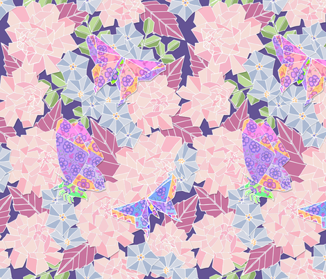 Roses, Bluebells and Butterfly Origami fabric by palifino on Spoonflower - custom fabric