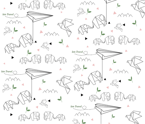Elephant origami fabric by niyama_ on Spoonflower - custom fabric