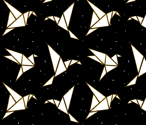 Metallic Gold Origami Birds  fabric by nancypurvis on Spoonflower - custom fabric