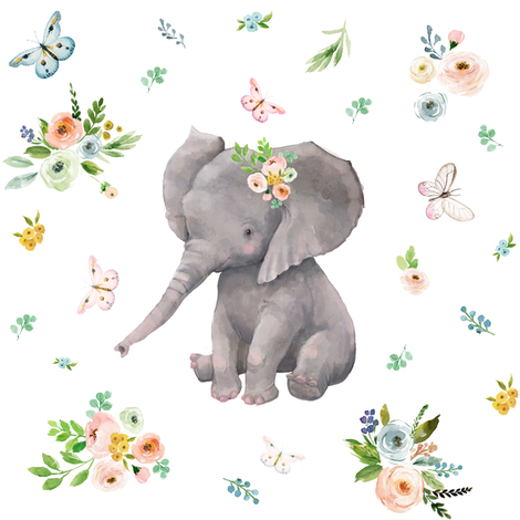 "8"" Spring Time Baby Elephant fabric by shopcabin on Spoonflower - custom fabric"
