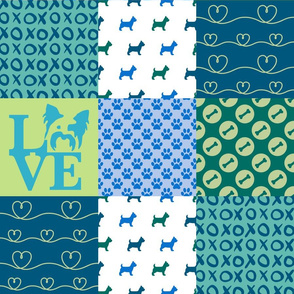 Cheater Quilt Yorkie Blue