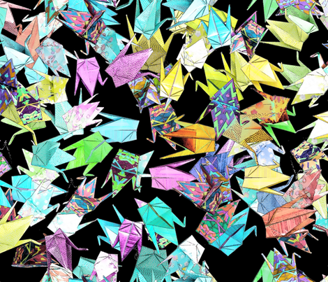 1000 Origami Cranes on Black fabric by bloomingwyldeiris on Spoonflower - custom fabric