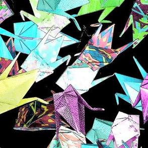 1000 Origami Cranes on Black