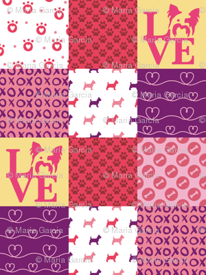 Cheater Quilt Yorkie Pink