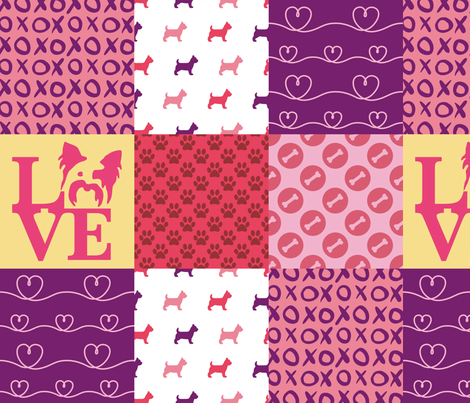 Cheater Quilt Yorkie Pink  fabric by mariafaithgarcia on Spoonflower - custom fabric