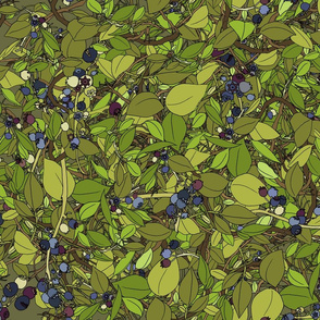 Blueberry leaves repeat - moss