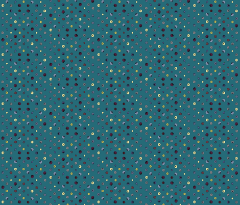 Blueberry Polka grid dark turquoise fabric by coppercatkin on Spoonflower - custom fabric