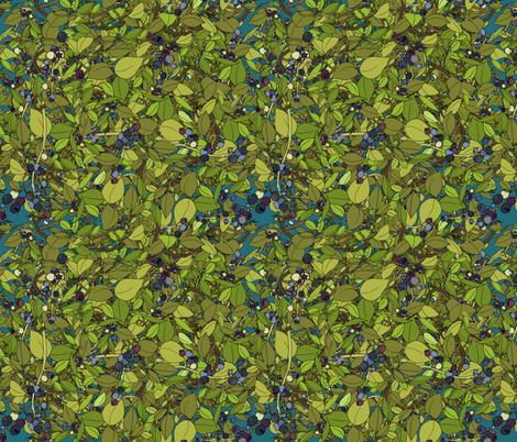 Blueberry leaves repeat - dark turquoise fabric by coppercatkin on Spoonflower - custom fabric