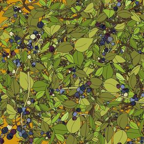 Blueberry leaves repeat - honey