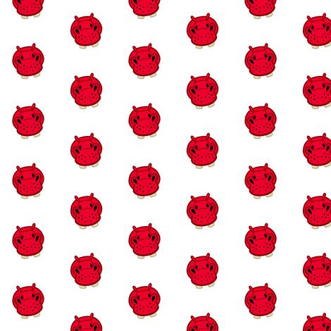 Tiny Hippo fabric by jadegordon on Spoonflower - custom fabric