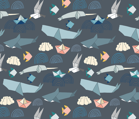 Marine Origami Pattern fabric by tangerine-tane on Spoonflower - custom fabric