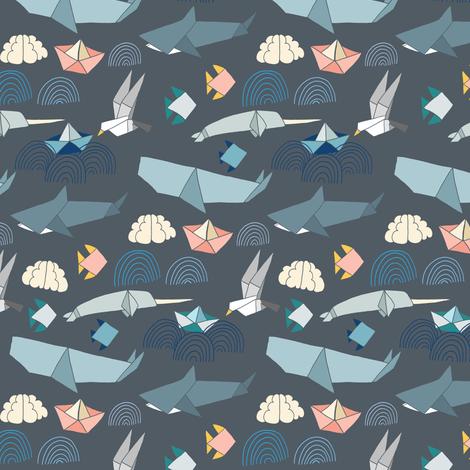 Marine Origami Pattern fabric by tangerine-tane on Spoonflower - custom fabric