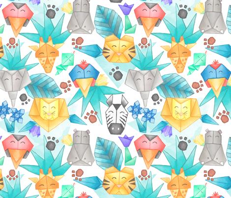 Origami Jungle Pals fabric by liz_sawyer_design on Spoonflower - custom fabric