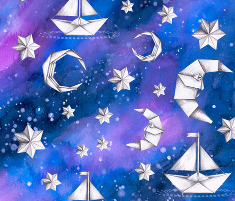Sail Me to the Moon fabric by gingerlique on Spoonflower - custom fabric