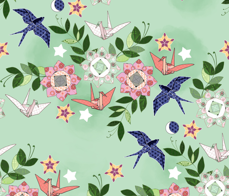 Origami Star Garden fabric by cynla on Spoonflower - custom fabric