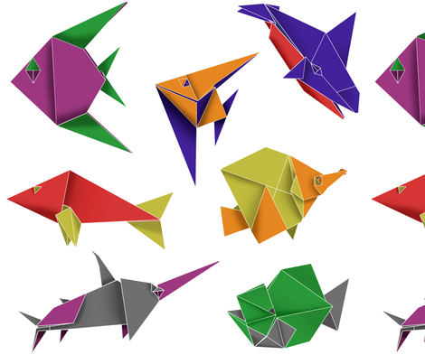 Origami Fish Contest Entry Fabric Sixsleekswans Spoonflower