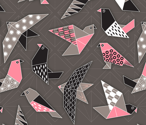 Paper Flight Origami Birds fabric by jenimp on Spoonflower - custom fabric