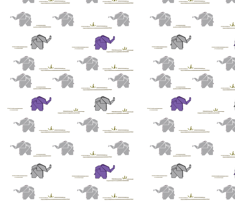 Paper Elephants fabric by karman_valla on Spoonflower - custom fabric