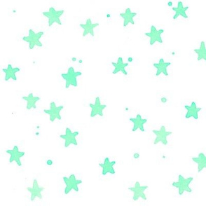 mint watercolor stars