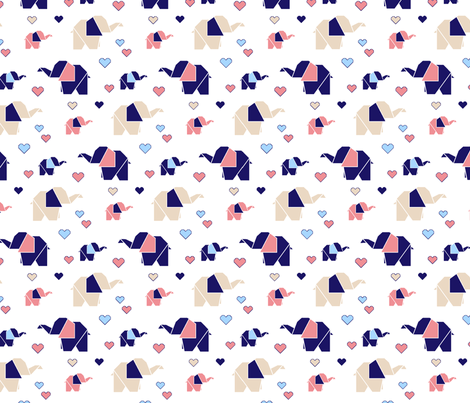 origami elephants and hearts_origami elephants and hearts fabric by vivdesign on Spoonflower - custom fabric