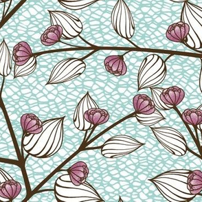 Teal and Fuchsia Flowers and Leaves on Netting