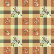 Rustic plaid with abstract roses