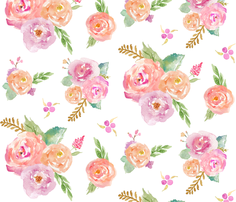 Watercolor Garden - Pink Peach Lavender Floral Blooms Baby Nursery Girls GingerLous A fabric by gingerlous on Spoonflower - custom fabric