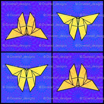 Origami Butterflies in Flight