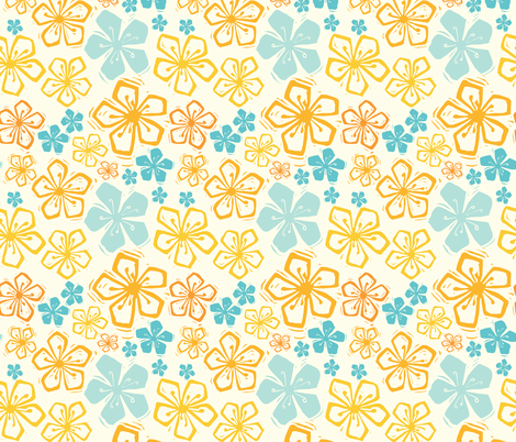 Floral Meadow Cream fabric by mirabellestudio on Spoonflower - custom fabric