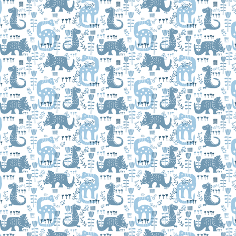 Floral Dinosaurs in Blue // SMALL fabric by jacquelinehurd on Spoonflower - custom fabric