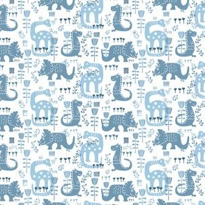 Floral Dinosaurs in Blue // SMALL