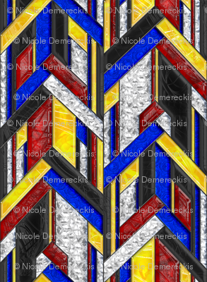 Art Deco Arrows Stained Glass
