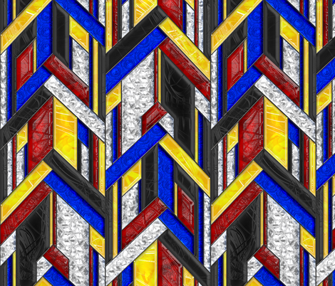 Art Deco Arrows Stained Glass fabric by wickedrefined on Spoonflower - custom fabric