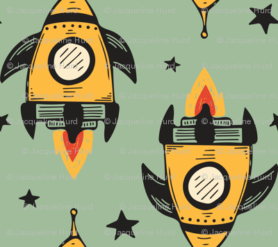 Yellow Rocket Ship SMALL