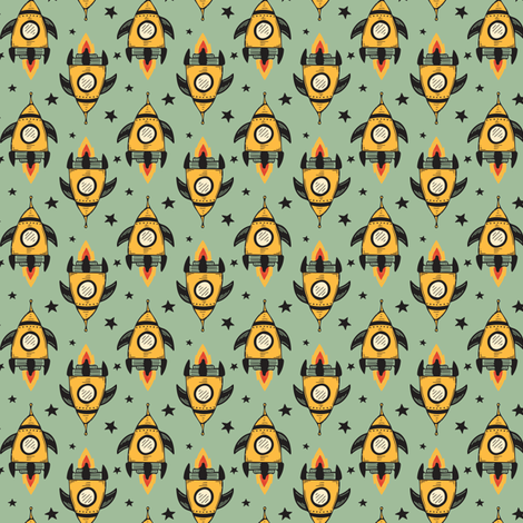 Yellow Rocket Ship SMALL fabric by jacquelinehurd on Spoonflower - custom fabric