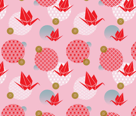 Clouds and cranes fabric by mumbojumbo on Spoonflower - custom fabric