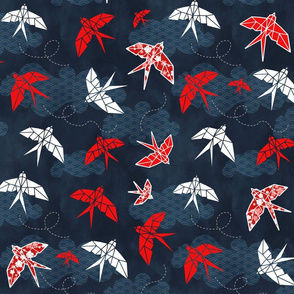 Origami Swallow Navy Blue