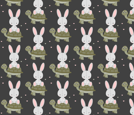 Hitchhiking Hare fabric by jannasalak on Spoonflower - custom fabric
