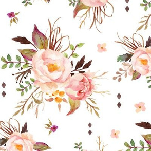 Blush Watercolor Floral - Peach Pink Cream Flowers - LARGE SCALE