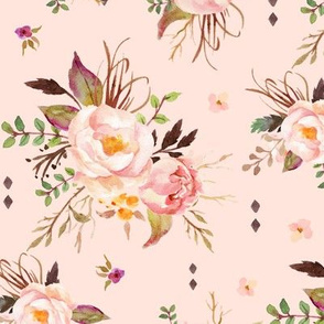 Blush Watercolor Floral (baby pink) - Peach Pink Cream Flowers - LARGE SCALE