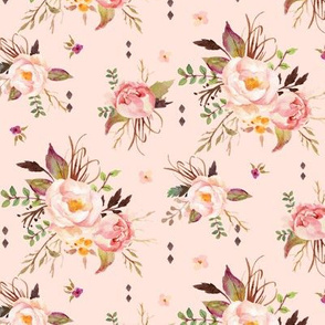 Blush Watercolor Floral (baby pink) - Peach Pink Cream Flowers (baby pink) - SMALL SCALE